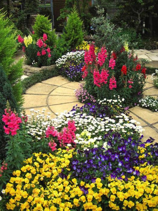 お庭の中心にあるサークル状のペイバーと自然石花壇にはお花をたくさん植え込んでいます。
